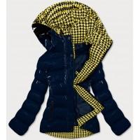 Dámska prešívaná zimná bunda tmavomodro-žltá (W807#)