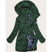 Dámska asymetrická zimná bunda zelená (M-21113)