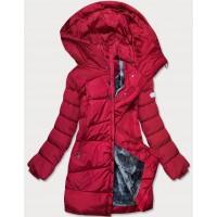 Dámska asymetrická zimná bunda červená  (M-21113)