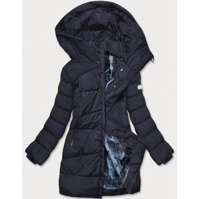 Dámska asymetrická zimná bunda tmavomodrá  (M-21113)