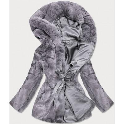Dámska jesenná kožušinová bunda šedá  (BR9743-9)
