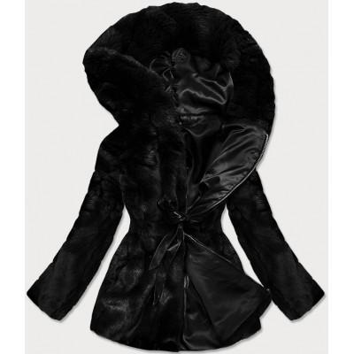 Dámska jesenná kožušinová bunda čierna  (BR9743-1)