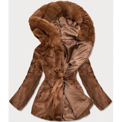 Dámska jesenná kožušinová bunda hnedá BR9743-22)