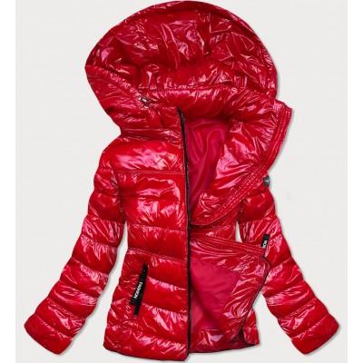 Lakovaná dámska jesenná bunda s kapucňou červená (B9759-4)