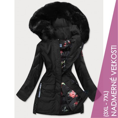 Dámska zimná bunda s ozdobnou podšívkou čierna (R9577)