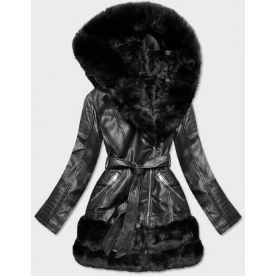 Dámska koženková zimná bunda čierna  (B9736)