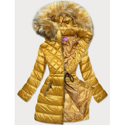 Prešívaná dámska zimná bunda s kapucňou žltá (8957-C)