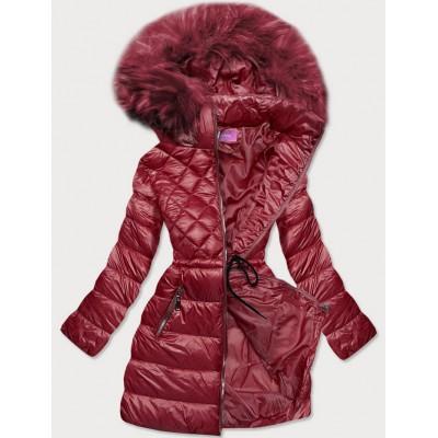 Prešívaná dámska zimná bunda s kapucňou bordová (8957-B)
