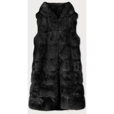 Dlhá dámska kožušinová vesta s kapucňou čierna (BR9745-1)