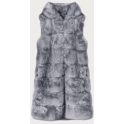 Dlhá dámska kožušinová vesta s kapucňou šedá  (BR9745-9)