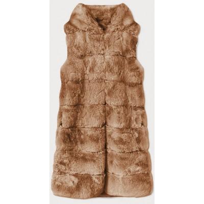 Dlhá dámska kožušinová vesta s kapucňou svetlohnedá  (BR9745-12)