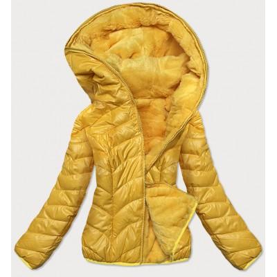 Dámska obojstranná zimná bunda žltá  (M832A)