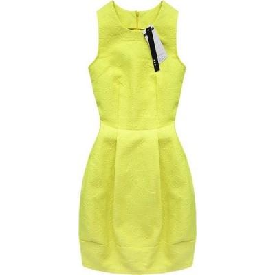 Dámske šaty s vtlačeným vzorom žlté (3121)