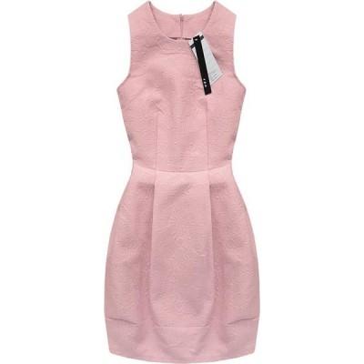 Dámske šaty s vtlačeným vzorom ružové (3121)