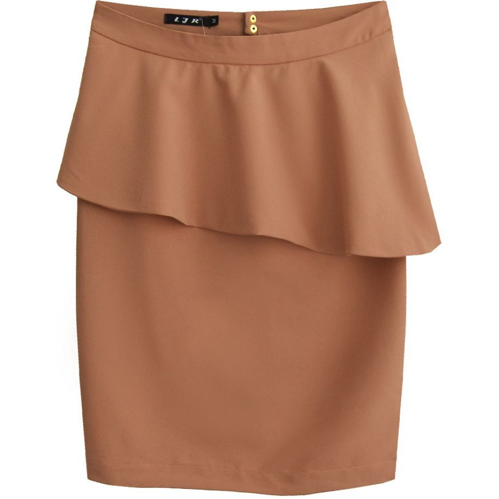 c859882db187 Dámska sukňa s volánom hnedá (6141)