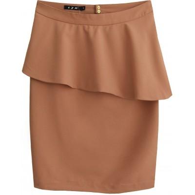 Dámska sukňa s volánom hnedá (6141)
