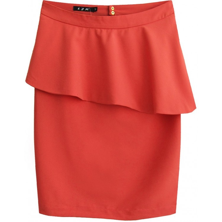 Dámska sukňa s volánom korálová (6141)