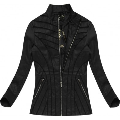 Dámska koženková bunda čierna (5262BIG)
