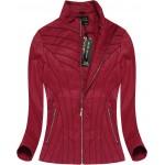 Dámska koženková bunda červená (5262)