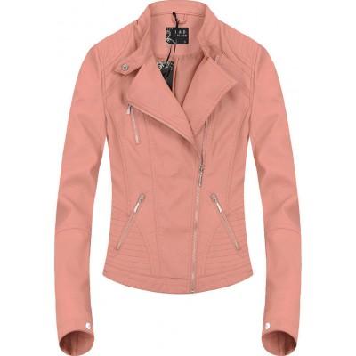 Dámska koženková bunda ružová (5233)