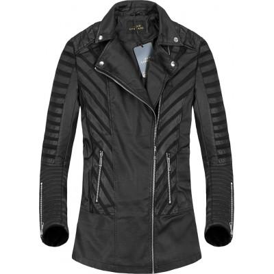 Dámska dlhšia kožeková bunda čierna (5255)