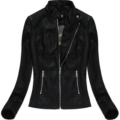 Dámska kožená bunda čierna (5272BIG)