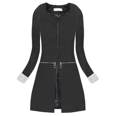 Dámske dlhé sako so zipsmi čierne (X1300X)