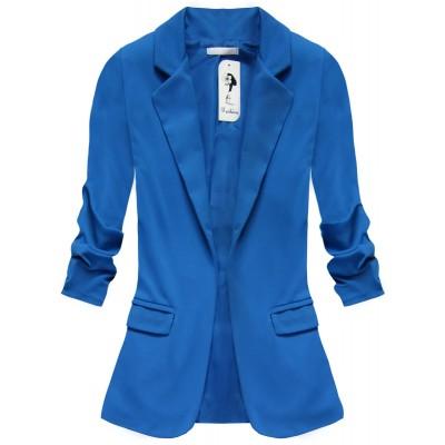 Dámske sako s nariasenými rukávmi modré (2126)