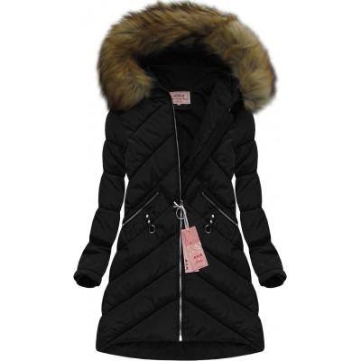 Dámska zimná bunda čierna (W606)