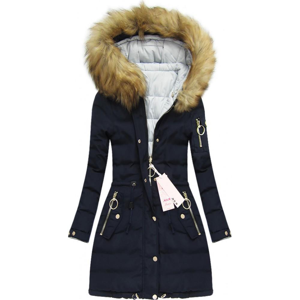 3e9f90d7dd8a Dámska obojstranná zimná bunda modrá (W707)