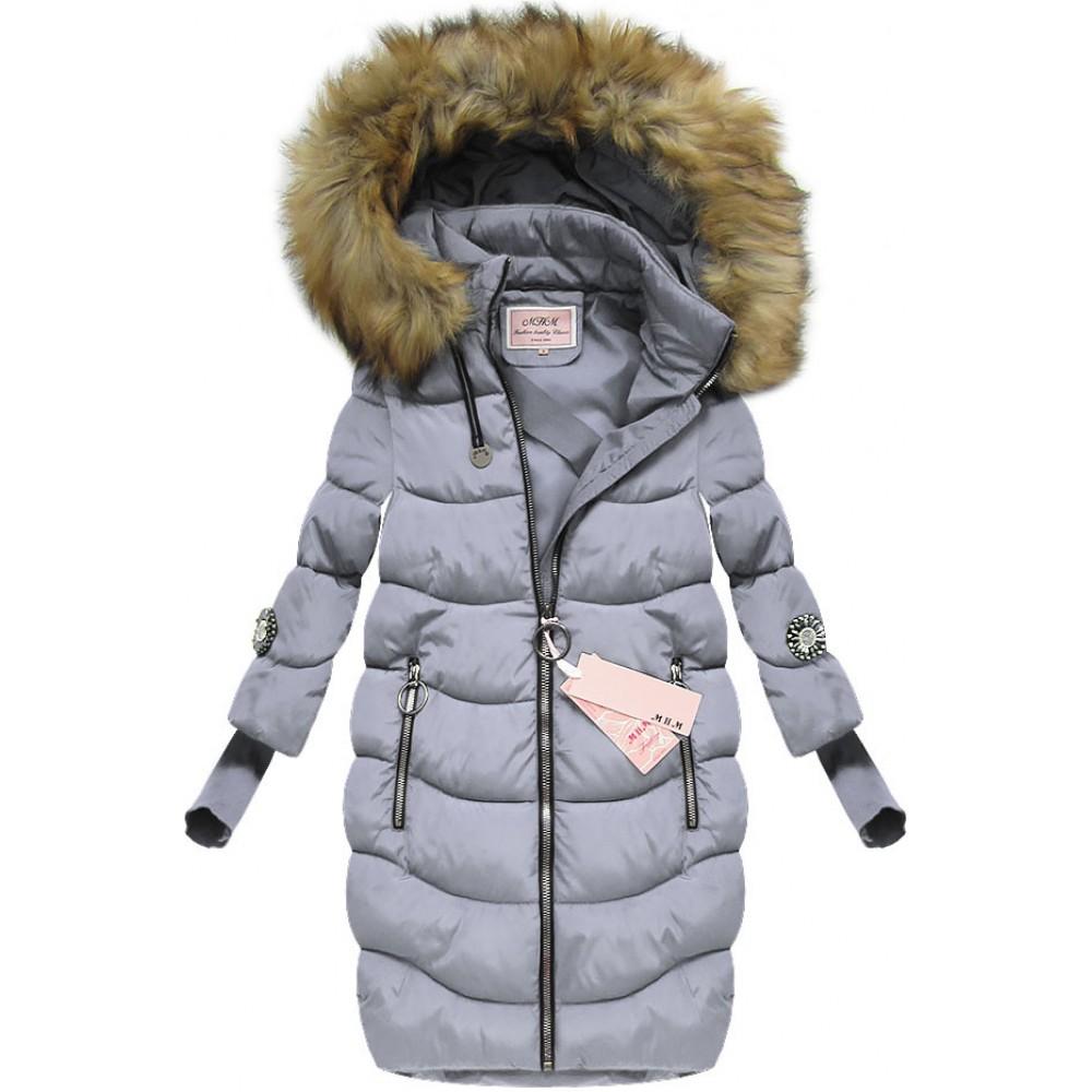 b02dc9b7d4d8 Dámska zimná bunda s 3 4 rukávmi šedo-fialová (W702)