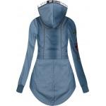 Dámska mikina imitujúca jeans modrá 1(J7903)