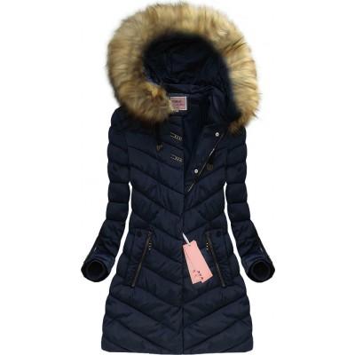Dámska zimná bunda tmavomodrá (W598) 2fabc5e5fb5