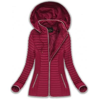 Dámska prechodná bunda s kapucňou bordová (7037BIG) 3f3caad8ec