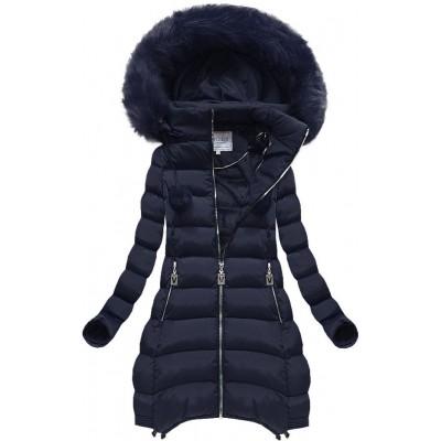 Dámska zimná bunda tmavomodrá (W579BIG)