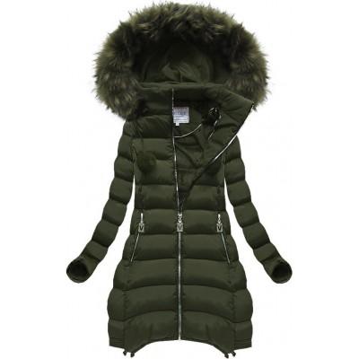 Dámska zimná bunda khaki (W579BIG)