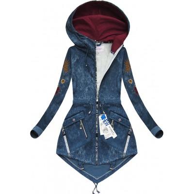 Dámska mikina imitujúca jeans modrá 2 (7676)