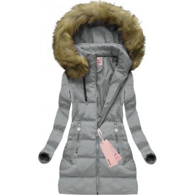Dámska zimná bunda sivá (XW716X) 5bc991719d5