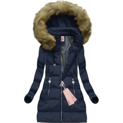 Dámska zimná bunda tmavomodrá (XW716X)