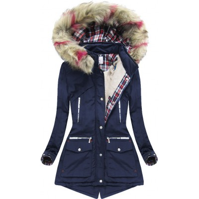 Dámska zimná bunda s kapucňou tmavomodrá (39911) 31ed80c6c38