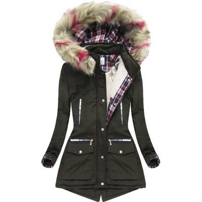 Dámska zimná bunda s kapucňou khaki (39911)