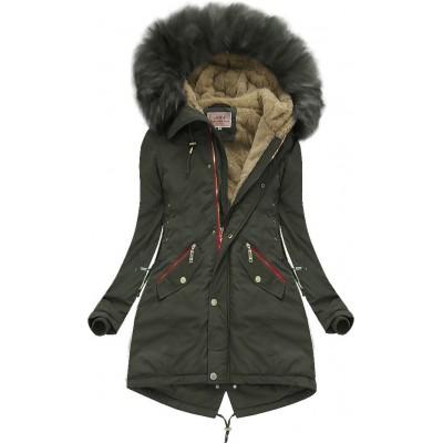 Dámska zimná bunda parka khaki (W136)