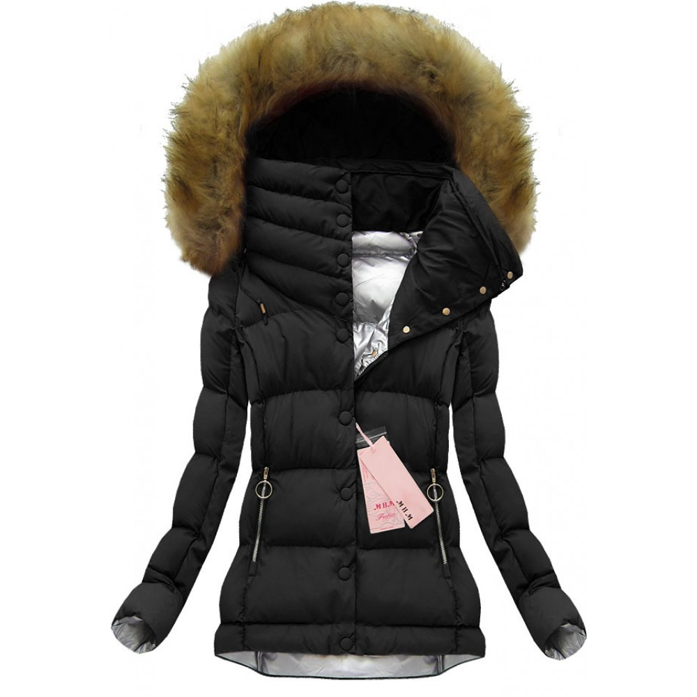 003baedfa Dámska krátka zimná bunda čierna (W135)
