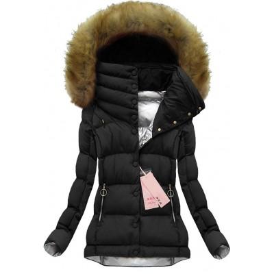 Dámska krátka zimná bunda čierna (W135)