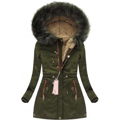 Dámska zimná bunda khaki (W132)