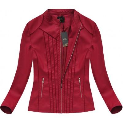 Dámska koženková bunda nadmernej veľkosti červená (5480BIG)