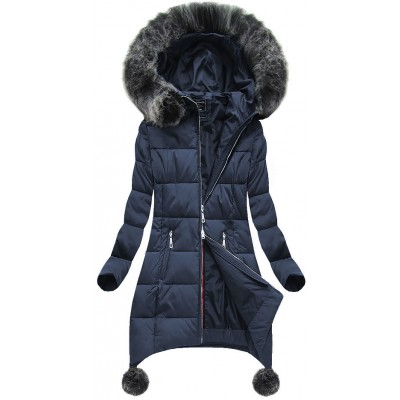 Dámska zimná bunda tmavomodrá (6788) 12647149055