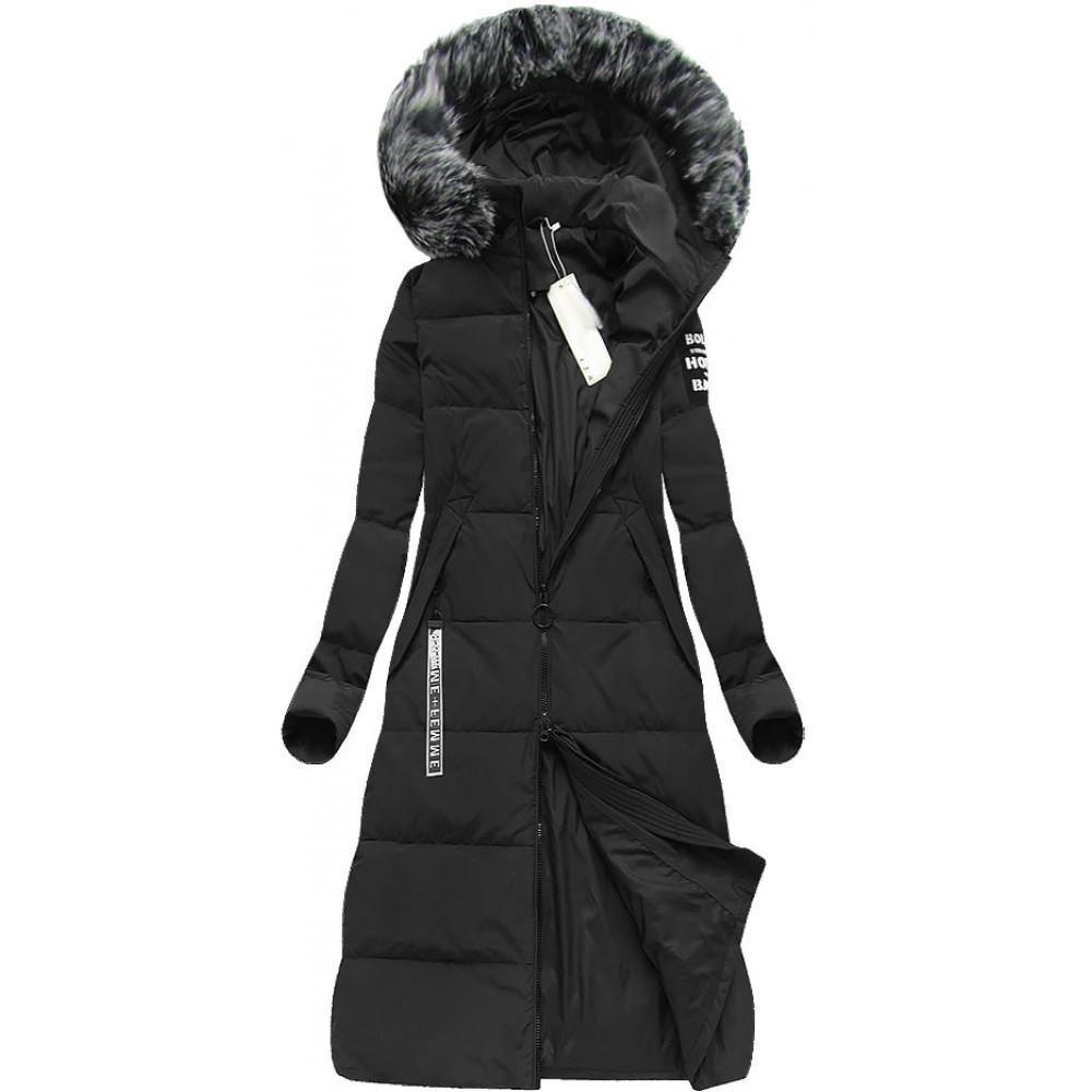 Dámska dlhá zimná bunda čierna (7078) 4501beb123c
