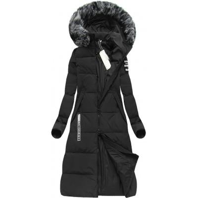 Dámska dlhá zimná bunda čierna (7078)
