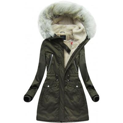 Teplá dámska zimná bunda army (6088)